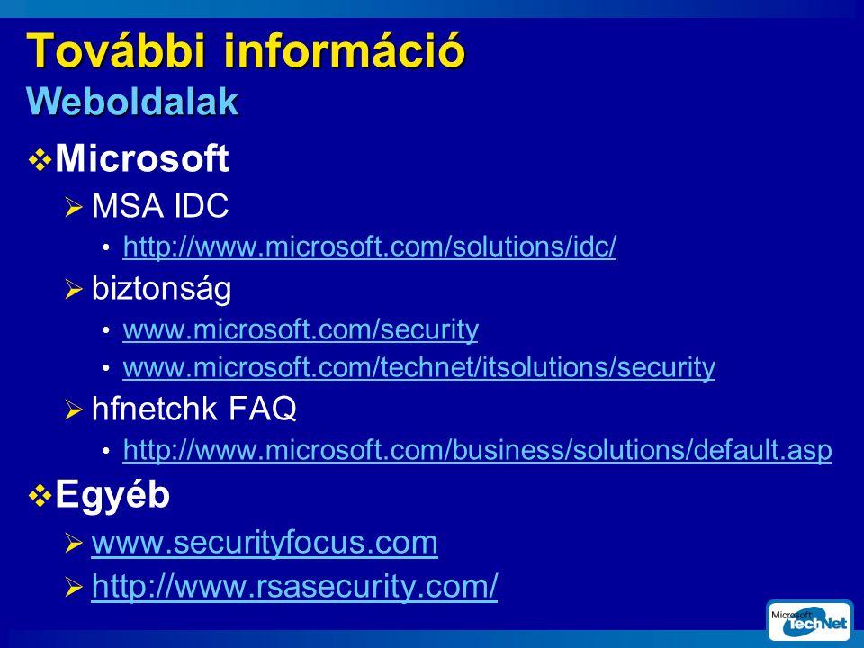 További információ Weboldalak  Microsoft  MSA IDC http://www.microsoft.com/solutions/idc/  biztonság www.microsoft.com/security www.microsoft.com/technet/itsolutions/security  hfnetchk FAQ http://www.microsoft.com/business/solutions/default.asp  Egyéb  www.securityfocus.com www.securityfocus.com  http://www.rsasecurity.com/ http://www.rsasecurity.com/