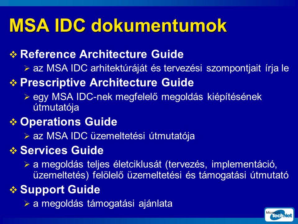 MSA IDC dokumentumok  Reference Architecture Guide  az MSA IDC arhitektúráját és tervezési szompontjait írja le  Prescriptive Architecture Guide  egy MSA IDC-nek megfelelő megoldás kiépítésének útmutatója  Operations Guide  az MSA IDC üzemeltetési útmutatója  Services Guide  a megoldás teljes életciklusát (tervezés, implementáció, üzemeltetés) felölelő üzemeltetési és támogatási útmutató  Support Guide  a megoldás támogatási ajánlata