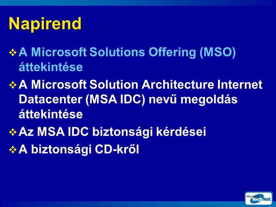 Napirend  A Microsoft Solutions Offering (MSO) áttekintése  A Microsoft Solution Architecture Internet Datacenter (MSA IDC) nevű megoldás áttekintése  Az MSA IDC biztonsági kérdései  A biztonsági CD-kről