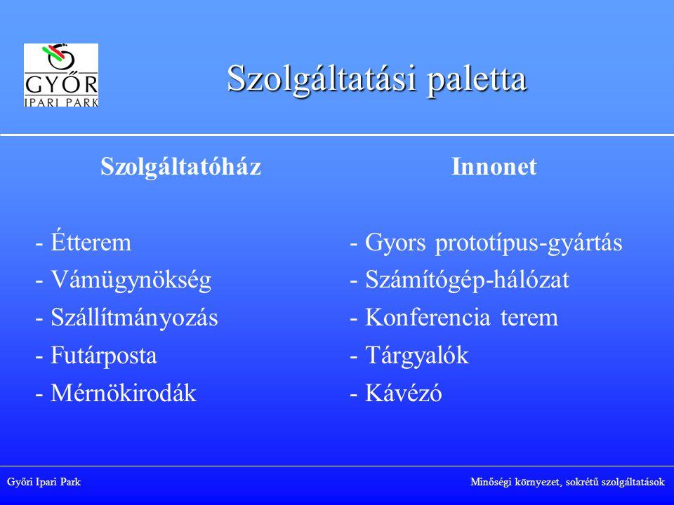 Győri Ipari Park Minőségi környezet, sokrétű szolgáltatások Szolgáltatási paletta Szolgáltatóház - Étterem - Vámügynökség - Szállítmányozás - Futárposta - Mérnökirodák Innonet - Gyors prototípus-gyártás - Számítógép-hálózat - Konferencia terem - Tárgyalók - Kávézó