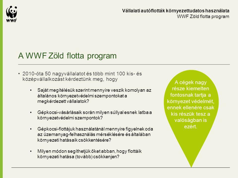 A WWF Zöld flotta program A cégek nagy része kiemelten fontosnak tartja a környezet védelmét, ennek ellenére csak kis részük tesz a valóságban is ezér