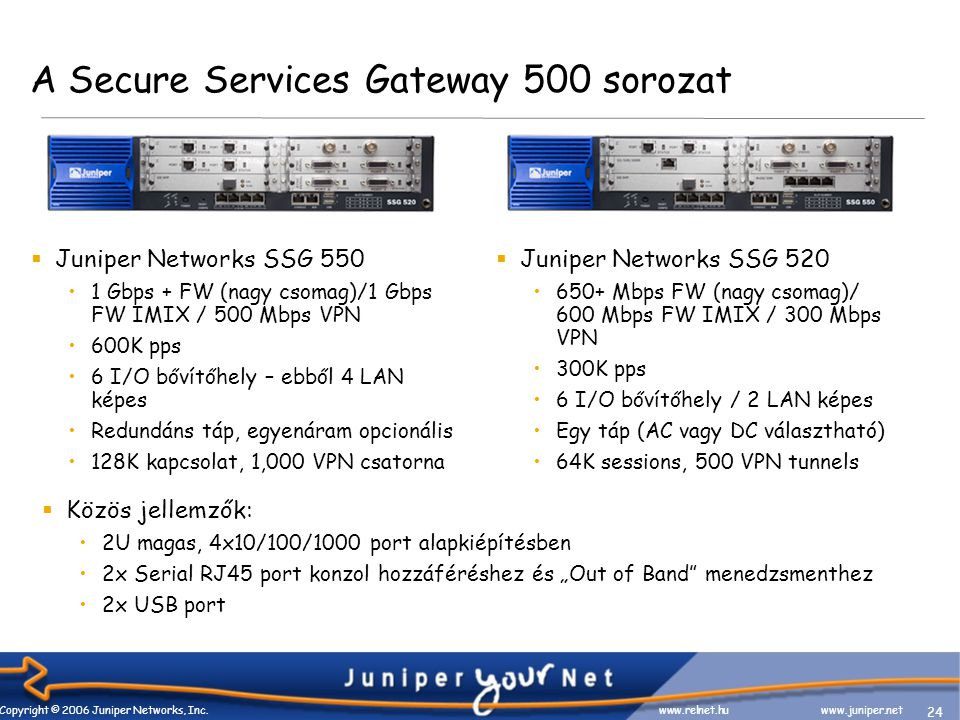 24 Copyright © 2006 Juniper Networks, Inc. www.relnet.huwww.juniper.net A Secure Services Gateway 500 sorozat  Juniper Networks SSG 550 1 Gbps + FW (