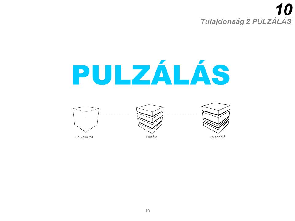 10 PULZÁLÁS Tulajdonság 2 PULZÁLÁS 10 FolyamatosPulzálóRezonáló