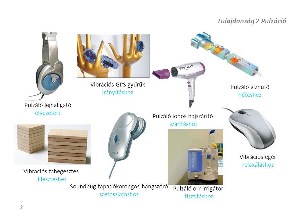 Tulajdonság 2 Pulzáció 12 Pulzáló fejhallgató élvezetért Vibrációs fahegesztés illesztéshez Pulzáló vízhűtő hűtéshez Vibrációs egér relaxáláshoz Vibrá