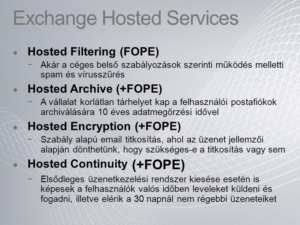 Exchange Hosted Services Hosted Filtering (FOPE) −Akár a céges belső szabályozások szerinti működés melletti spam és vírusszűrés Hosted Archive (+FOPE