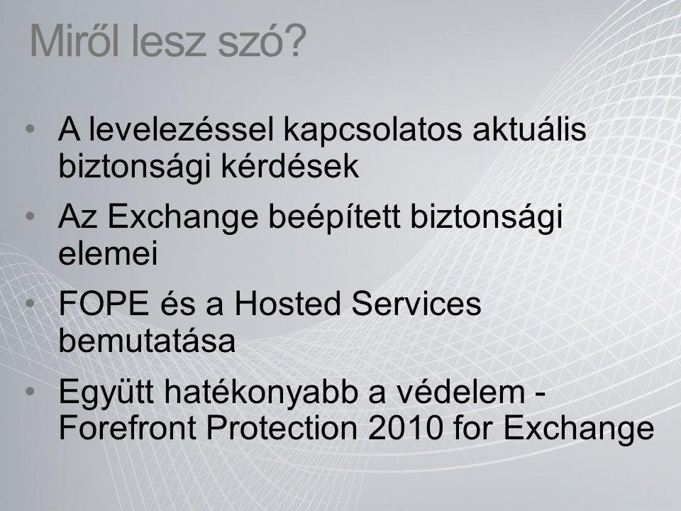 A levelezéssel kapcsolatos aktuális biztonsági kérdések Az Exchange beépített biztonsági elemei FOPE és a Hosted Services bemutatása Együtt hatékonyab