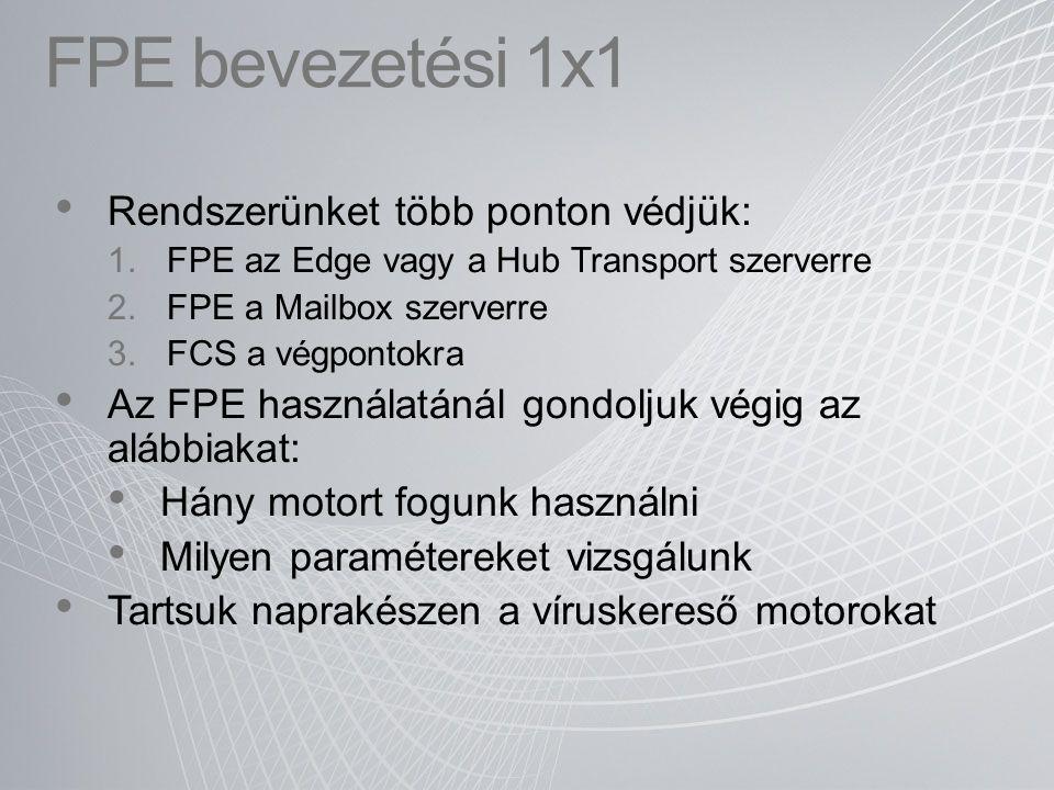 FPE bevezetési 1x1 Rendszerünket több ponton védjük: 1.FPE az Edge vagy a Hub Transport szerverre 2.FPE a Mailbox szerverre 3.FCS a végpontokra Az FPE
