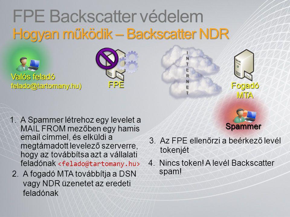 2.A fogadó MTA továbbítja a DSN vagy NDR üzenetet az eredeti feladónak 3.Az FPE ellenőrzi a beérkező levél tokenjét INTERNET 1.A Spammer létrehoz egy