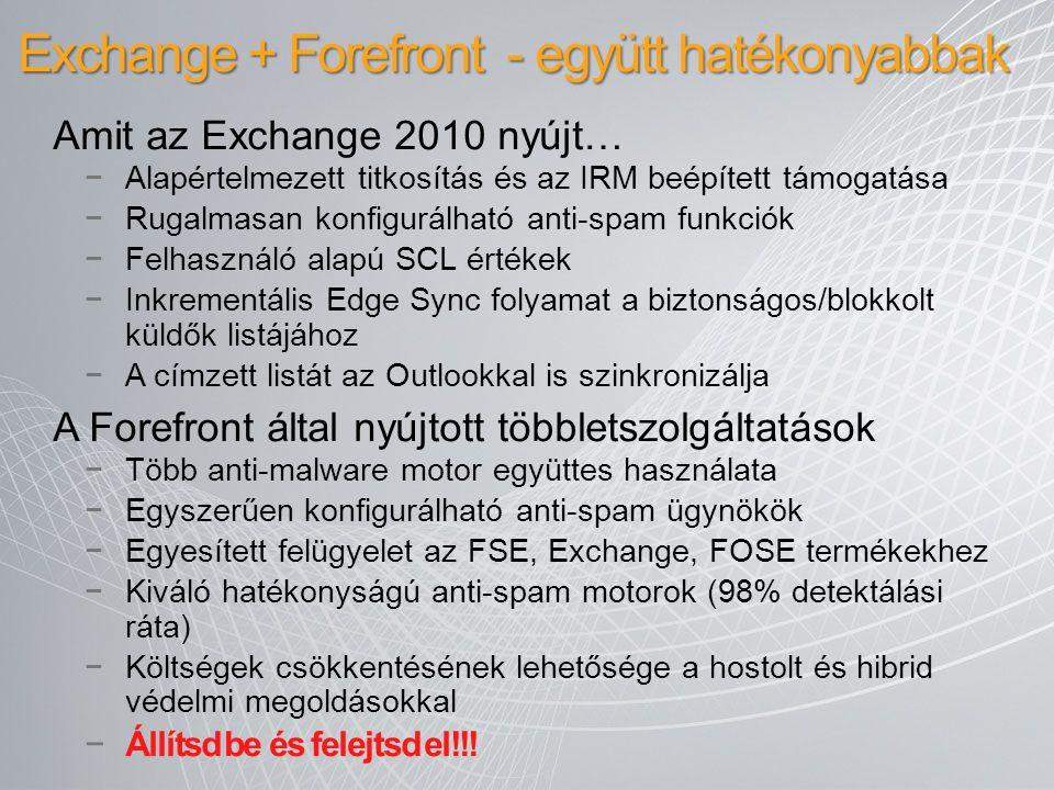 Exchange + Forefront - együtt hatékonyabbak Amit az Exchange 2010 nyújt… −Alapértelmezett titkosítás és az IRM beépített támogatása −Rugalmasan konfig