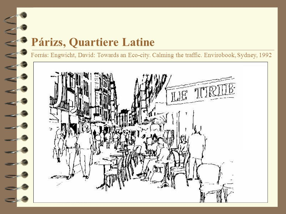 Párizs, Quartiere Latine Forrás: Engwicht, David: Towards an Eco-city. Calming the traffic. Envirobook, Sydney, 1992