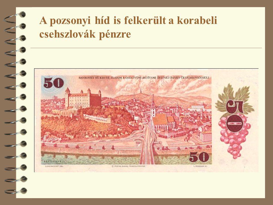 A pozsonyi híd is felkerült a korabeli csehszlovák pénzre