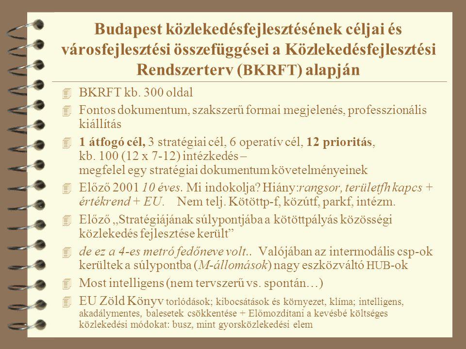 Budapest közlekedésfejlesztésének céljai és városfejlesztési összefüggései a Közlekedésfejlesztési Rendszerterv ( BKRFT ) alapján 4 BKRFT kb.
