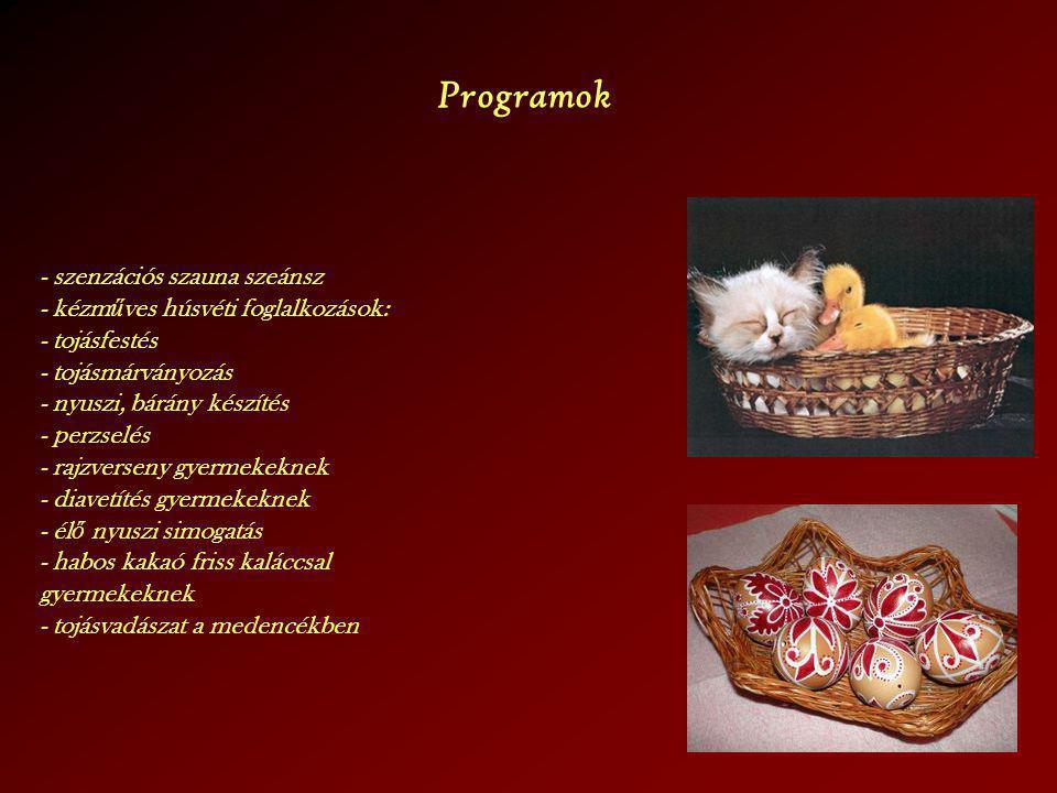 Programok - szenzációs szauna szeánsz - kézm ű ves húsvéti foglalkozások: - tojásfestés - tojásmárványozás - nyuszi, bárány készítés - perzselés - raj