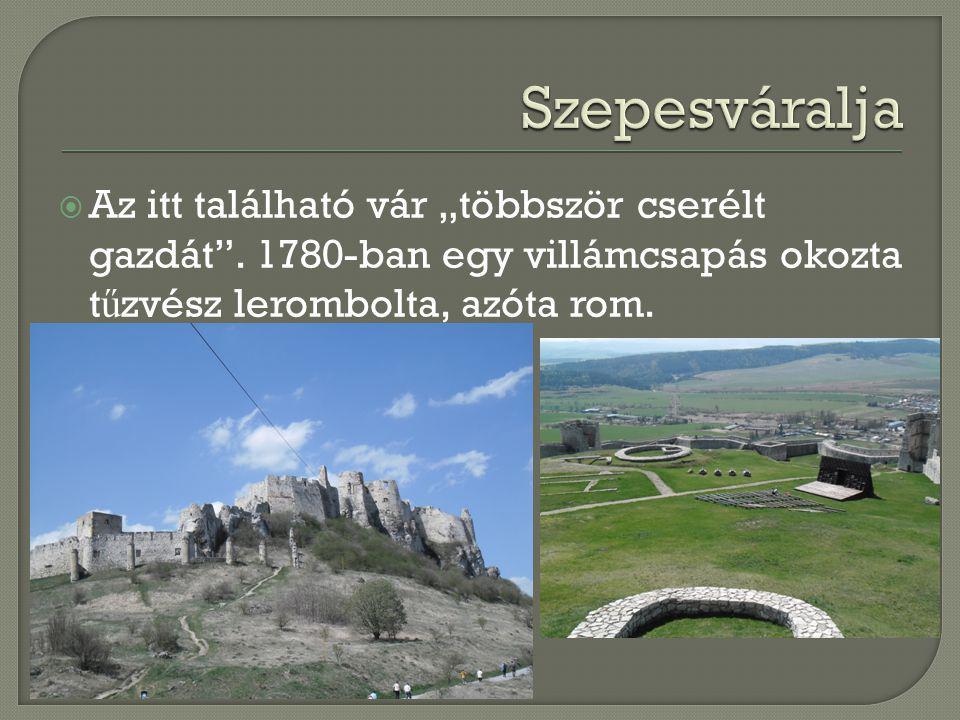 """ Az itt található vár """"többször cserélt gazdát"""". 1780-ban egy villámcsapás okozta t ű zvész lerombolta, azóta rom."""