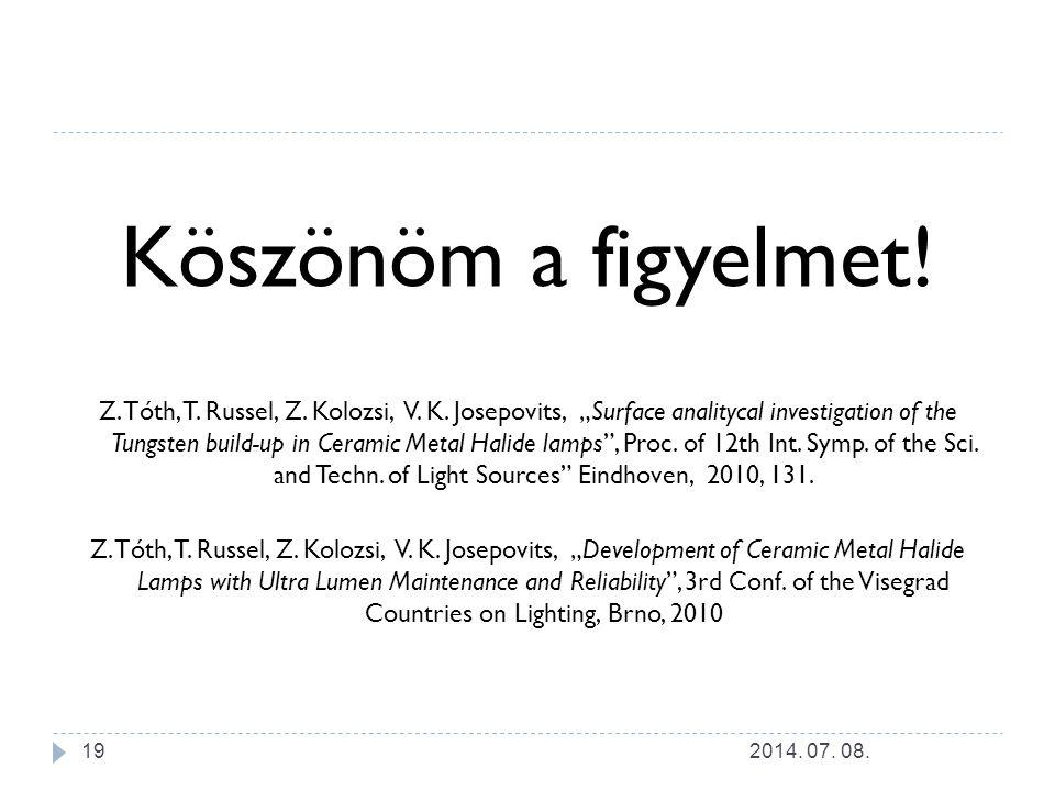 "Köszönöm a figyelmet! Z. Tóth, T. Russel, Z. Kolozsi, V. K. Josepovits, ""Surface analitycal investigation of the Tungsten build-up in Ceramic Metal Ha"
