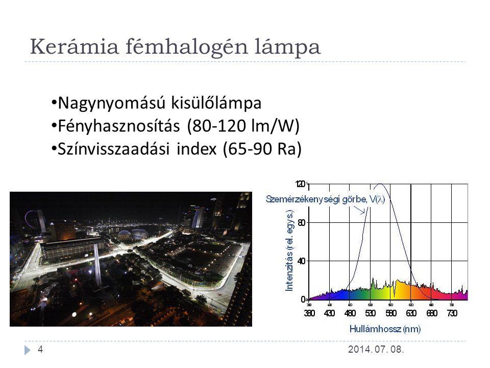 Kerámia fémhalogén lámpa Nagynyomású kisülőlámpa Fényhasznosítás (80-120 lm/W) Színvisszaadási index (65-90 Ra) 2014. 07. 08.4