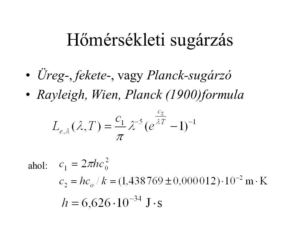 Hőmérsékleti sugárzás Üreg-, fekete-, vagy Planck-sugárzó Rayleigh, Wien, Planck (1900)formula ahol: