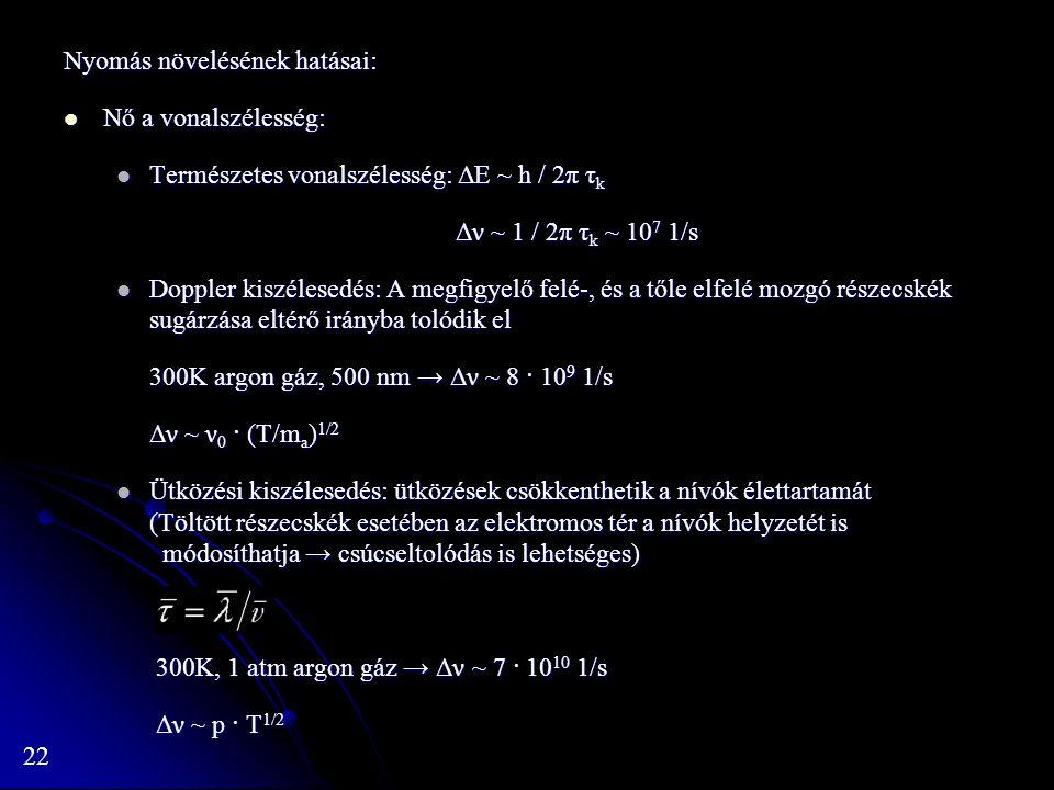 22 Nyomás növelésének hatásai: Nő a vonalszélesség: Nő a vonalszélesség: Természetes vonalszélesség: ΔE ~ h / 2π τ k Természetes vonalszélesség: ΔE ~