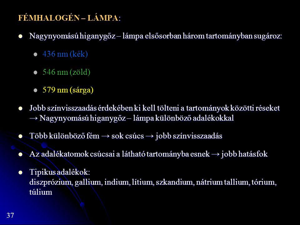 37 : FÉMHALOGÉN – LÁMPA: Nagynyomású higanygőz – lámpa elsősorban három tartományban sugároz: Nagynyomású higanygőz – lámpa elsősorban három tartomány