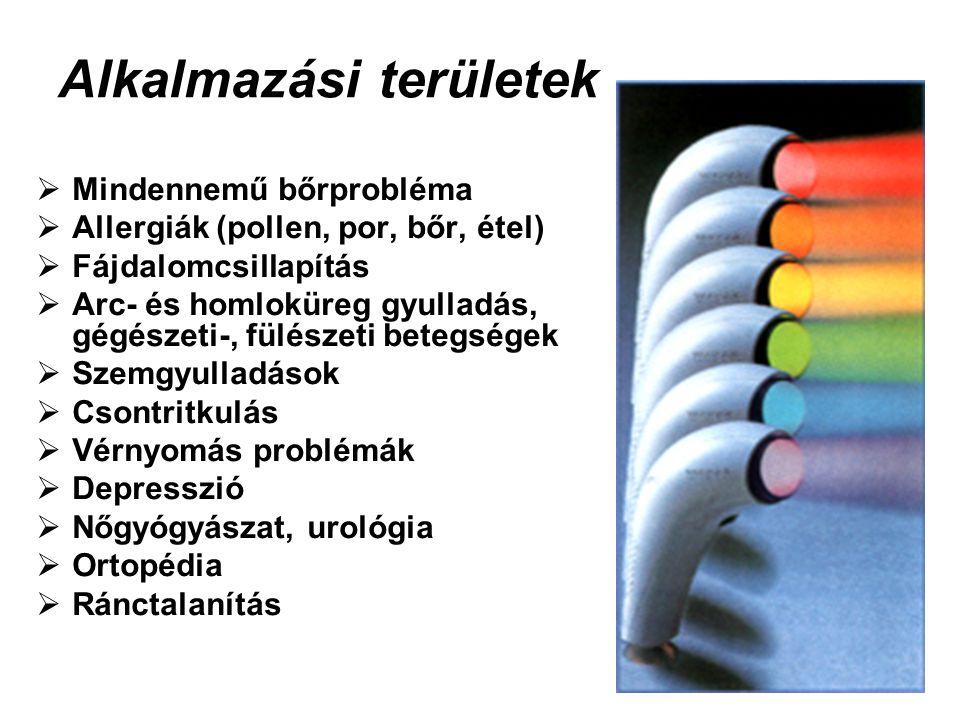 Alkalmazási területek  Mindennemű bőrprobléma  Allergiák (pollen, por, bőr, étel)  Fájdalomcsillapítás  Arc- és homloküreg gyulladás, gégészeti-,