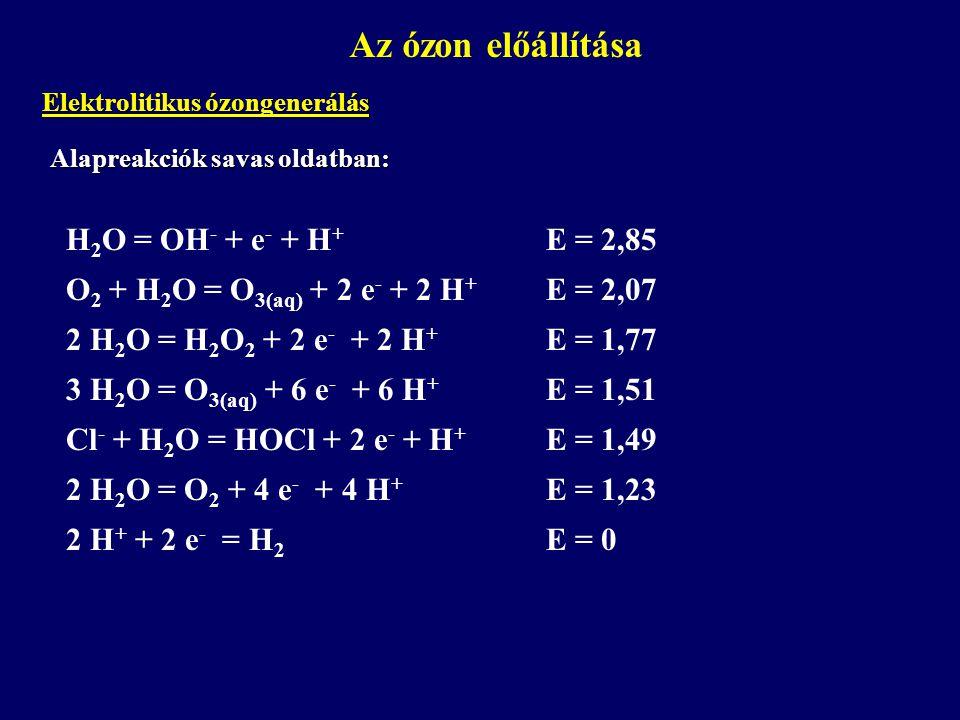 Alapreakciók savas oldatban: Az ózon előállítása Elektrolitikus ózongenerálás H 2 O = OH - + e - + H + E = 2,85 O 2 + H 2 O = O 3(aq) + 2 e - + 2 H +