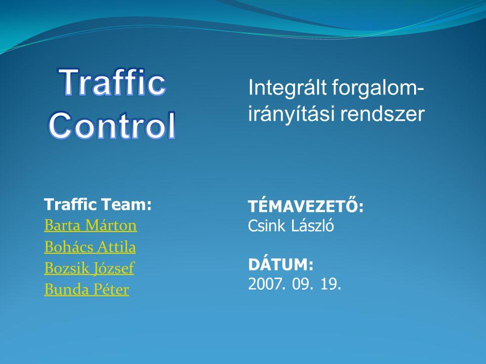 Traffic Team: Barta Márton Bohács Attila Bozsik József Bunda Péter TÉMAVEZETŐ: Csink László DÁTUM: 2007.