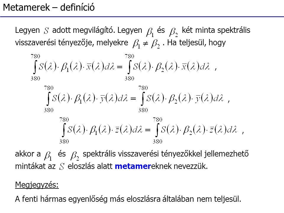 Metamerek – definíció Legyen adott megvilágító. Legyen és két minta spektrális visszaverési tényezője, melyekre. Ha teljesül, hogy,,, akkor a és spekt