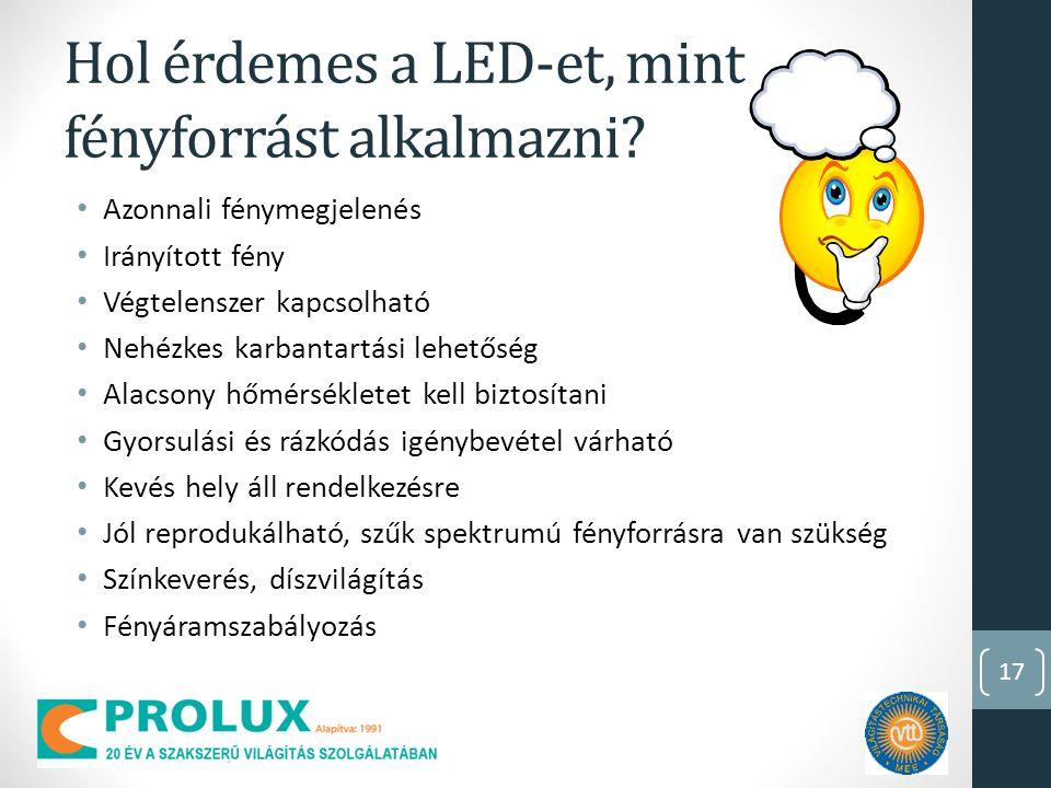 17 Hol érdemes a LED-et, mint fényforrást alkalmazni.