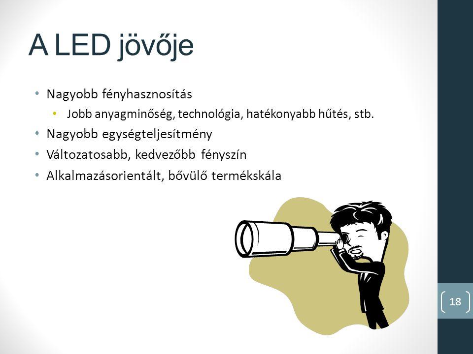 18 A LED jövője Nagyobb fényhasznosítás Jobb anyagminőség, technológia, hatékonyabb hűtés, stb.