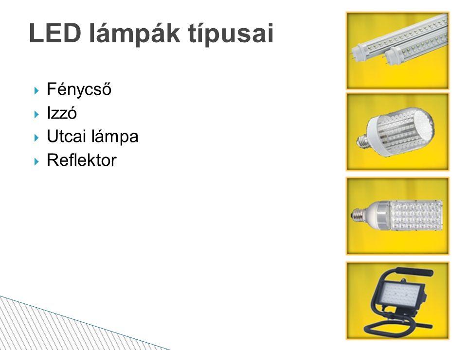 LED lámpák típusai  Fénycső  Izzó  Utcai lámpa  Reflektor