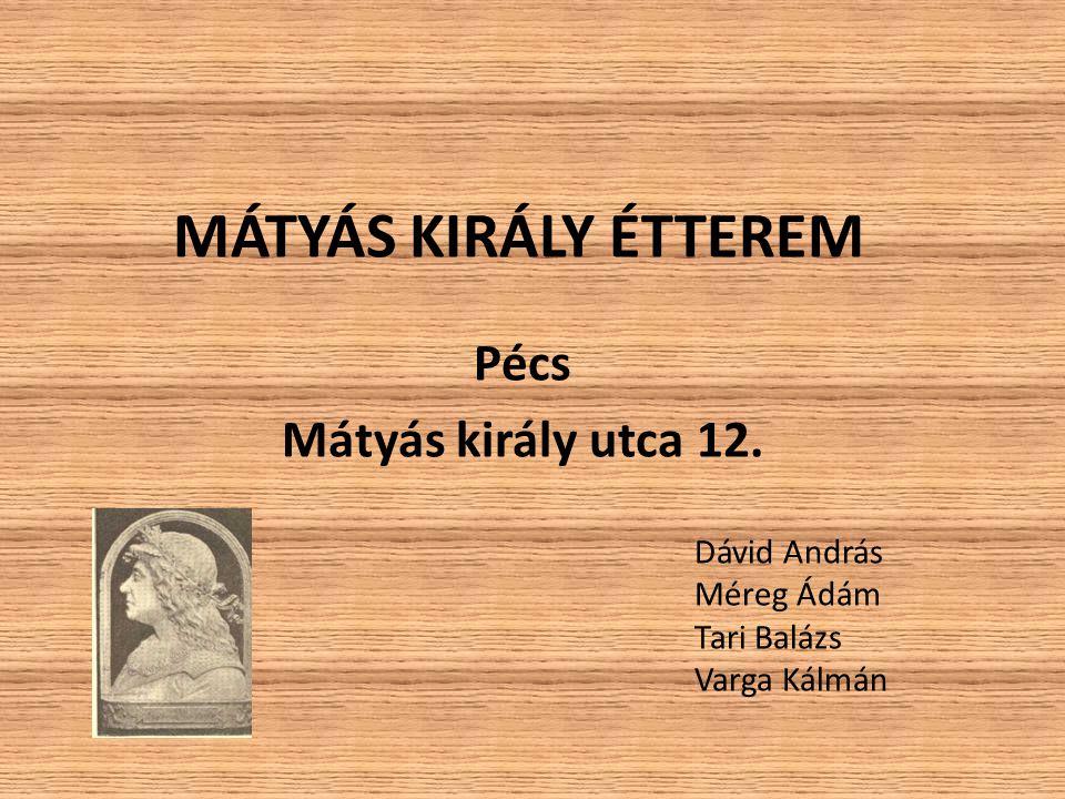 MÁTYÁS KIRÁLY ÉTTEREM Pécs Mátyás király utca 12. Dávid András Méreg Ádám Tari Balázs Varga Kálmán