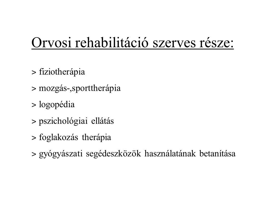 Orvosi rehabilitáció szerves része: ˃ fiziotherápia ˃ mozgás-,sporttherápia ˃ logopédia ˃ pszichológiai ellátás ˃ foglakozás therápia ˃ gyógyászati se