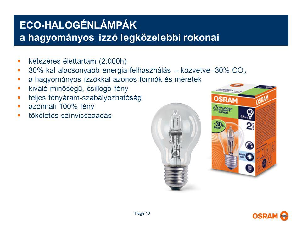 Page 13 ECO-HALOGÉNLÁMPÁK a hagyományos izzó legközelebbi rokonai  kétszeres élettartam (2.000h)  30%-kal alacsonyabb energia-felhasználás – közvetve -30% CO 2  a hagyományos izzókkal azonos formák és méretek  kiváló minőségű, csillogó fény  teljes fényáram-szabályozhatóság  azonnali 100% fény  tökéletes színvisszaadás