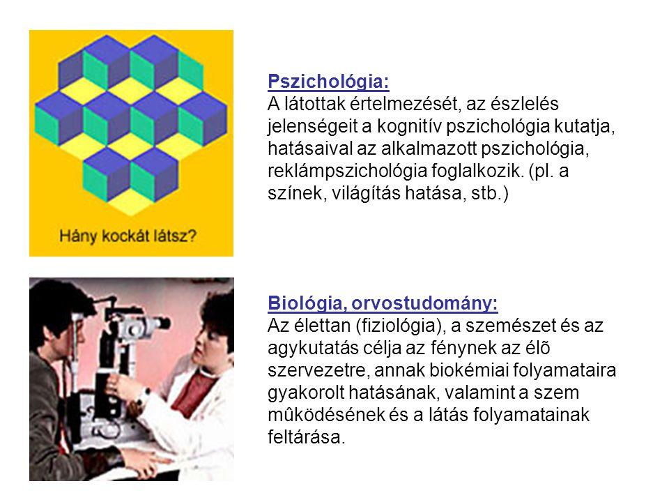 Biológia, orvostudomány: Az élettan (fiziológia), a szemészet és az agykutatás célja az fénynek az élõ szervezetre, annak biokémiai folyamataira gyako