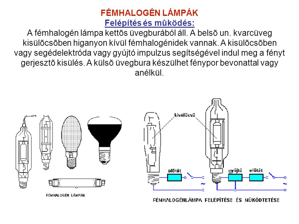 FÉMHALOGÉN LÁMPÁK Felépítés és mûködés: A fémhalogén lámpa kettõs üvegburából áll. A belsõ un. kvarcüveg kisülõcsõben higanyon kívül fémhalogénidek va