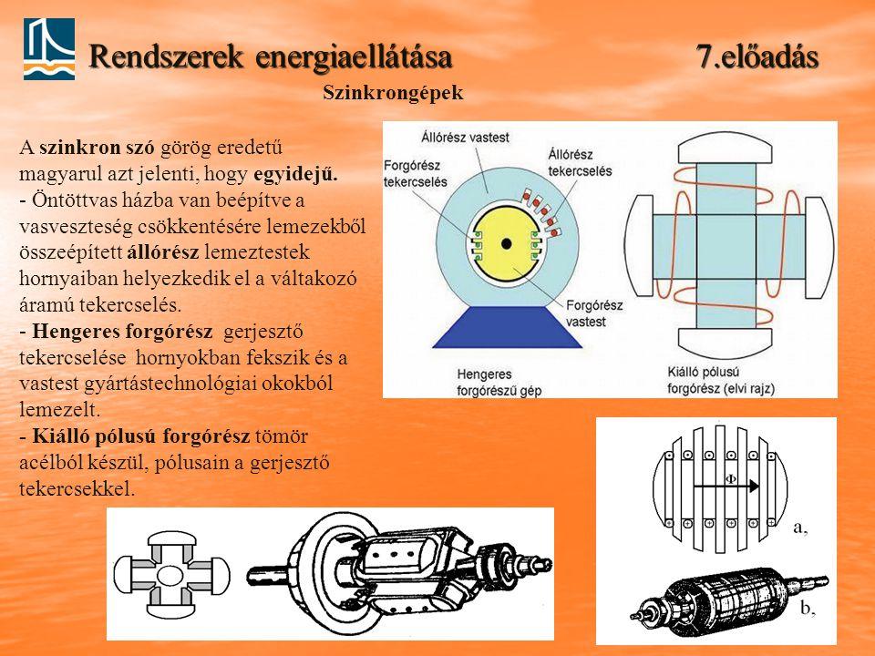 Rendszerek energiaellátása 7.előadás A szinkron szó görög eredetű magyarul azt jelenti, hogy egyidejű.