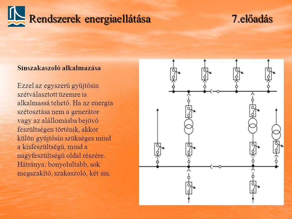 Rendszerek energiaellátása 7.előadás Sínszakaszoló alkalmazása Ezzel az egyszerű gyűjtősín szétválasztott üzemre is alkalmassá tehető. Ha az energia s