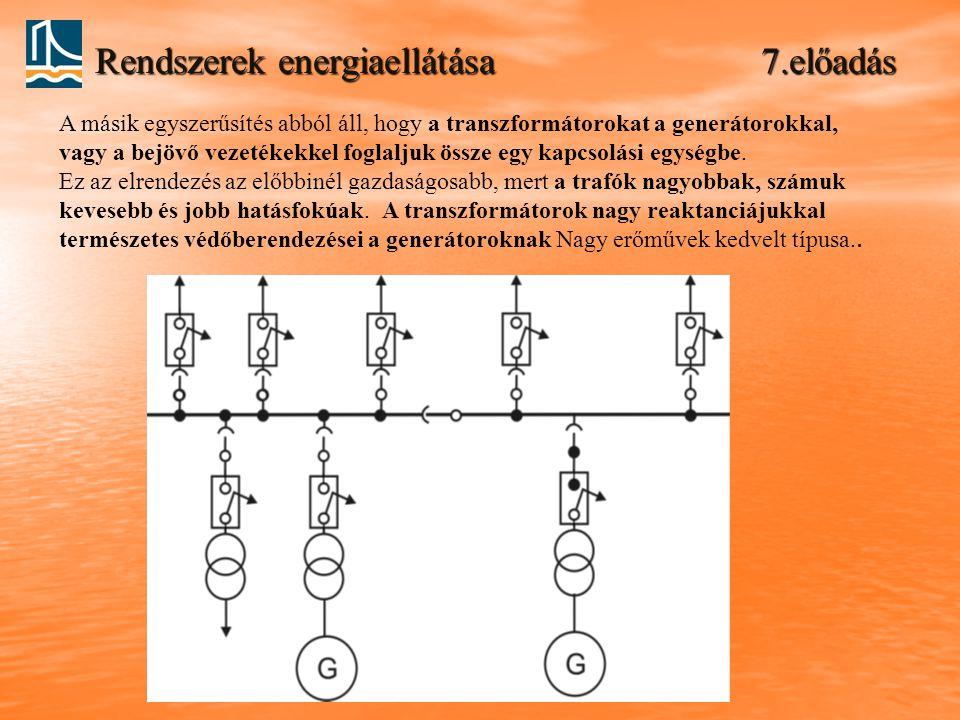 Rendszerek energiaellátása 7.előadás A másik egyszerűsítés abból áll, hogy a transzformátorokat a generátorokkal, vagy a bejövő vezetékekkel foglaljuk össze egy kapcsolási egységbe.