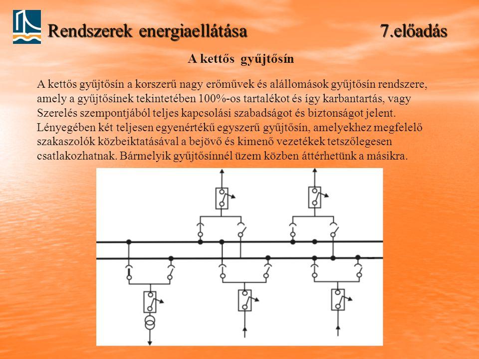 Rendszerek energiaellátása 7.előadás A kettős gyűjtősín A kettős gyűjtősín a korszerű nagy erőművek és alállomások gyűjtősín rendszere, amely a gyűjtő