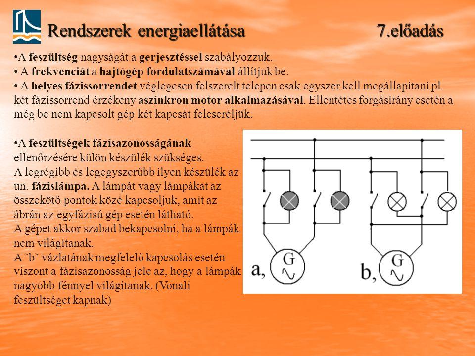 Rendszerek energiaellátása 7.előadás A feszültségek fázisazonosságának ellenőrzésére külön készülék szükséges.