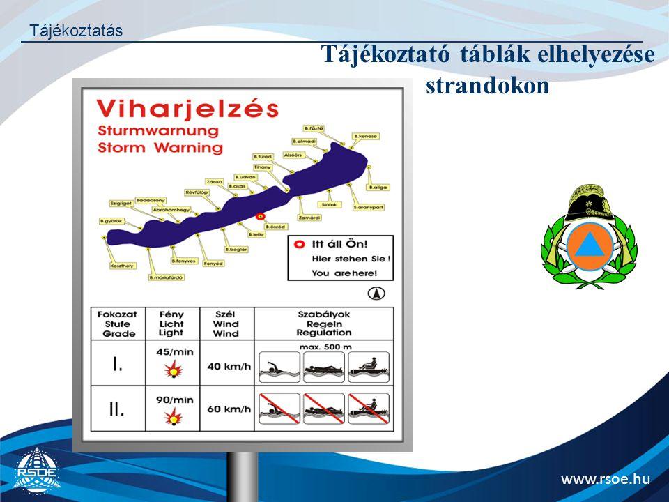 www.rsoe.hu Tájékoztatás Tájékoztató táblák elhelyezése strandokon