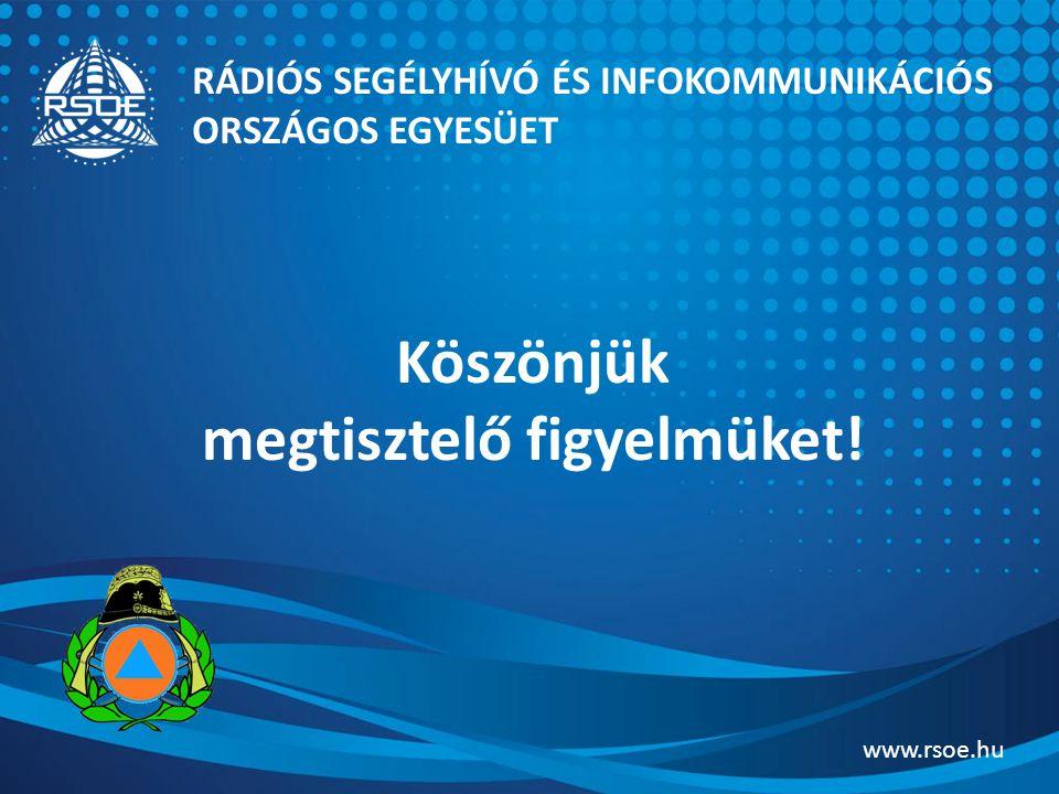 Köszönjük megtisztelő figyelmüket! RÁDIÓS SEGÉLYHÍVÓ ÉS INFOKOMMUNIKÁCIÓS ORSZÁGOS EGYESÜET www.rsoe.hu