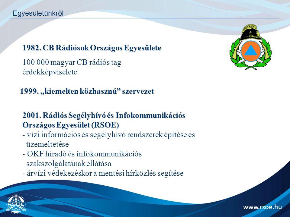 """www.rsoe.hu Egyesületünkről 1982. CB Rádiósok Országos Egyesülete 100 000 magyar CB rádiós tag érdekképviselete 1999. """"kiemelten közhasznú"""" szervezet"""