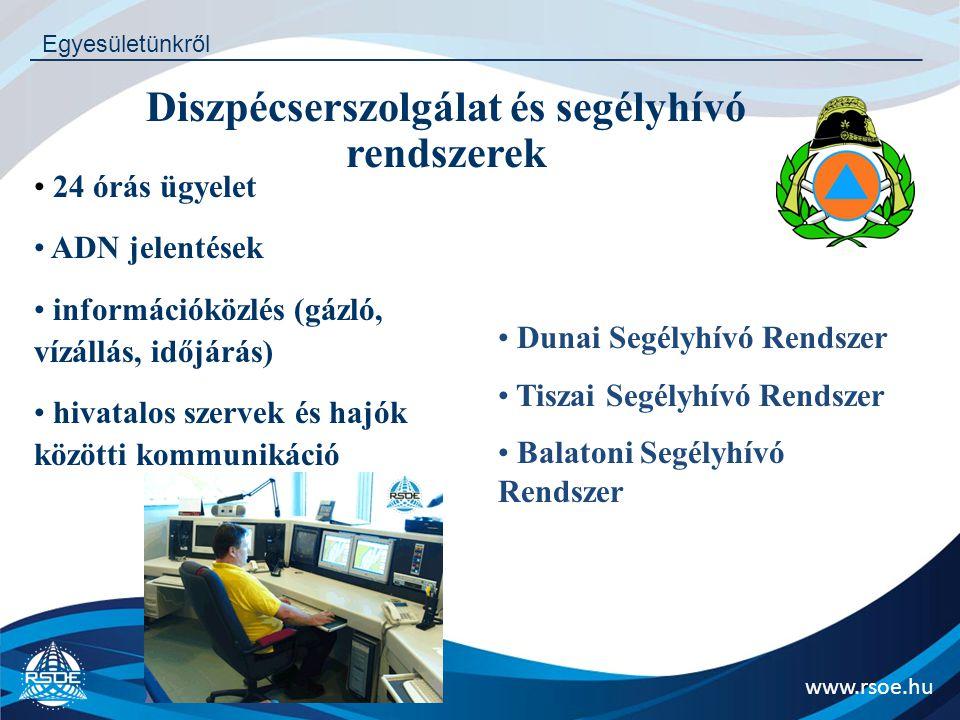 www.rsoe.hu Egyesületünkről 24 órás ügyelet ADN jelentések információközlés (gázló, vízállás, időjárás) hivatalos szervek és hajók közötti kommunikáci