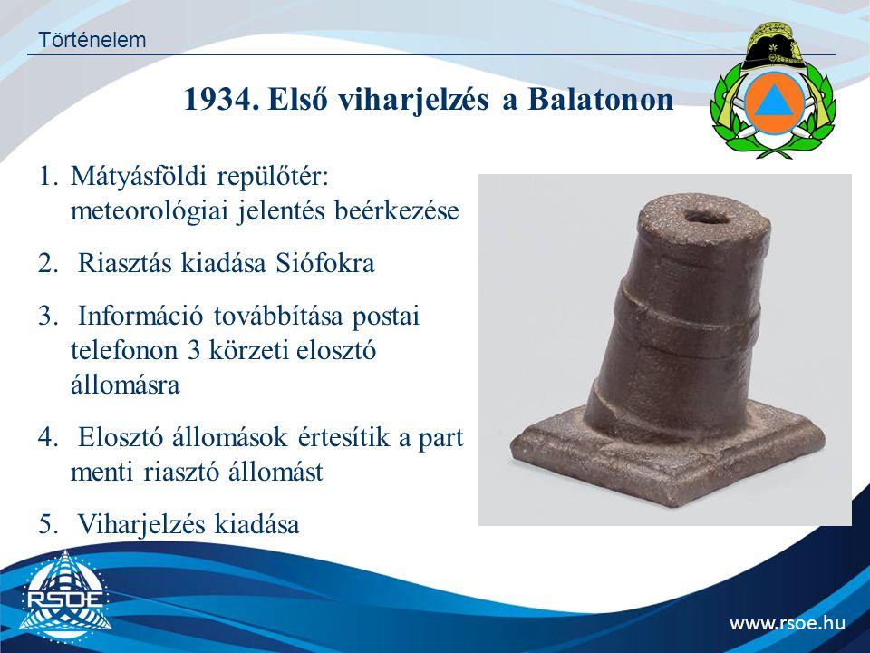 www.rsoe.hu Történelem 1934. Első viharjelzés a Balatonon 1.Mátyásföldi repülőtér: meteorológiai jelentés beérkezése 2. Riasztás kiadása Siófokra 3. I