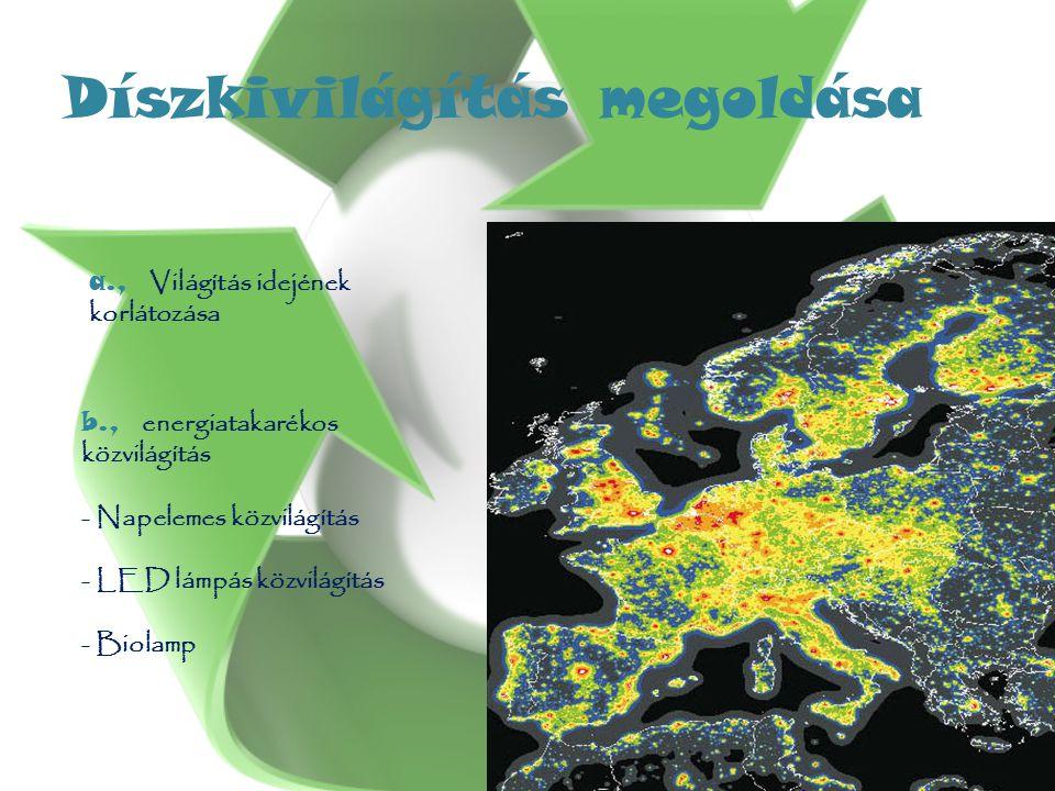 Díszkivilágítás megoldása a., Világítás idejének korlátozása b., energiatakarékos közvilágítás - Napelemes közvilágítás - LED lámpás közvilágítás - Biolamp