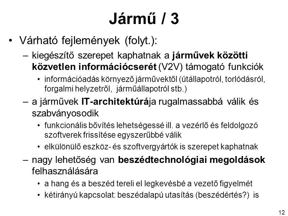 Jármű / 3 Várható fejlemények (folyt.): –kiegészítő szerepet kaphatnak a járművek közötti közvetlen információcserét (V2V) támogató funkciók informáci