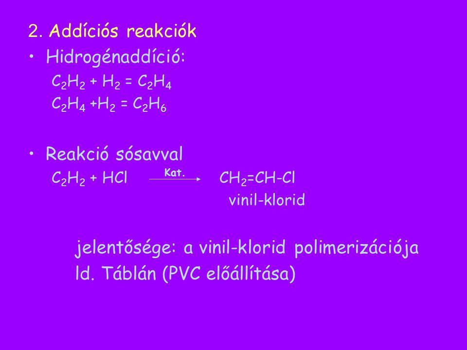 2. Addíciós reakciók Hidrogénaddíció: C 2 H 2 + H 2 = C 2 H 4 C 2 H 4 +H 2 = C 2 H 6 Reakció sósavval C 2 H 2 + HCl CH 2 =CH-Cl vinil-klorid jelentősé