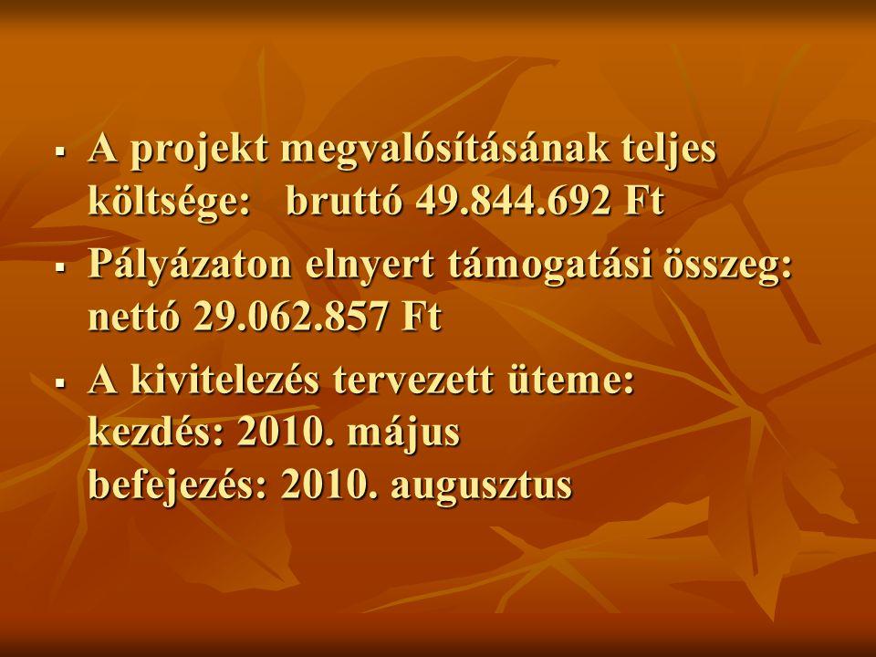  A projekt megvalósításának teljes költsége: bruttó 49.844.692 Ft  Pályázaton elnyert támogatási összeg: nettó 29.062.857 Ft  A kivitelezés tervezett üteme: kezdés: 2010.