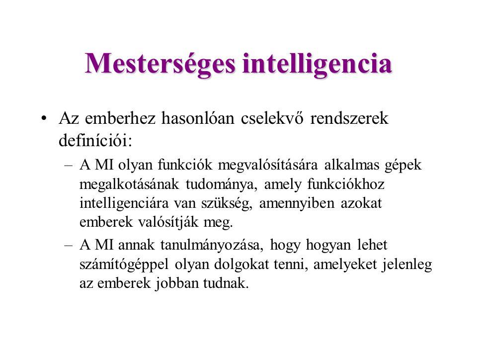 Mesterséges intelligencia Az emberhez hasonlóan cselekvő rendszerek definíciói: –A MI olyan funkciók megvalósítására alkalmas gépek megalkotásának tudománya, amely funkciókhoz intelligenciára van szükség, amennyiben azokat emberek valósítják meg.